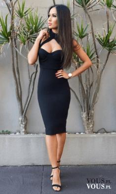 obcisła sukienka, czarna sukienka za kolano, elegancki zestaw, seksowna czarna sukienka