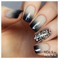 ciekawy manicure, szary lakier, ombre na paznokciach