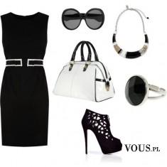 czarna elegancka sukienka, mała czarna, elegancki zestaw