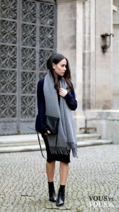 czarny płaszcz, duży szal