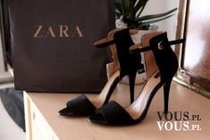 czarne sandały na szpilce zara