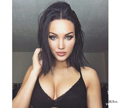 piękny makijaż, włosy do ramion