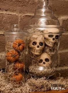 Dekoracje na hallowen, czachy, dynie