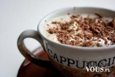 Kawa Cappuccino, cappuccino z dodatkiem czekolady, filiżanka cappuccino