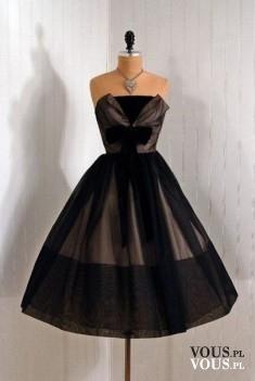 Czarna rozkloszowana sukienka midi, piękna suknia wieczorowa bez ramiączek, sukienka retro