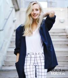 Cudowna stylizacja biało granatowa ze spodniami w kratkę. Spodnie Zara, Bluzka Asos
