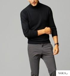 czarny golf i szare spodnie