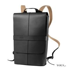 plecak na MacBook'a, designerski plecak z czarnej skóry