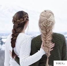 Piękne długie włosy brązowe i blond w grubym warkoczu.