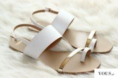 klapki biało złote na lato