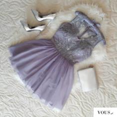 Szara tiulowa sukienka z gipiurą