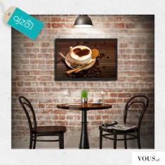 Plakat w ramie z motywem kawy w miłych dla oka odcieniach brązu. Dekoracja doskonała do kuchni b ...