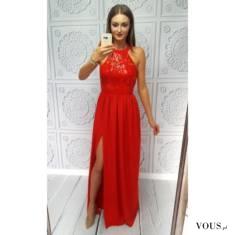 Długa czerwona suknia na bal, wesele, przyjęcie, sylwester