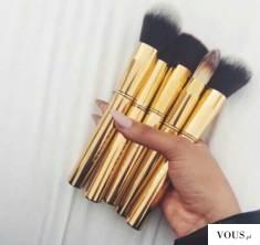 złote pędzle do makijażu
