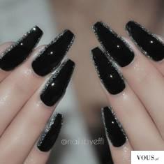 czarne paznokcie na sylwestra