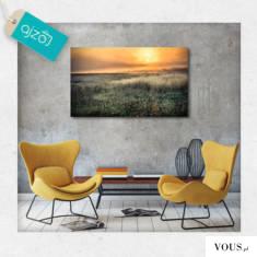 Plakat z motywem zachodu słońca na polanie. Dekoracja w ciepłych barwach doskonale ozdobi salon, ...