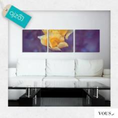Trzyczęściowy obraz a na nim żółty kwiat na intensywnie fioletowym tle. Dekoracja odświeży Twoje ...