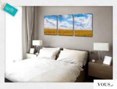 Trzyczęściowy obraz z motywem rozciągającego się pola aż po horyzont. Dodatkowo motyw błękitnego ...