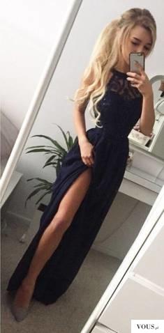 Olivia granatowa maxi dress