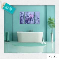 Piękny obraz trzyczęściowy z motywem roślinnym o delikatnym fioletowym kolorze, dekoracja świetn ...