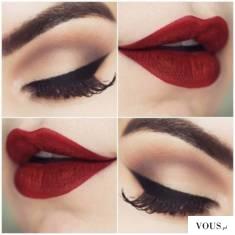 klasyczny makijaż,kreska i czerwone usta
