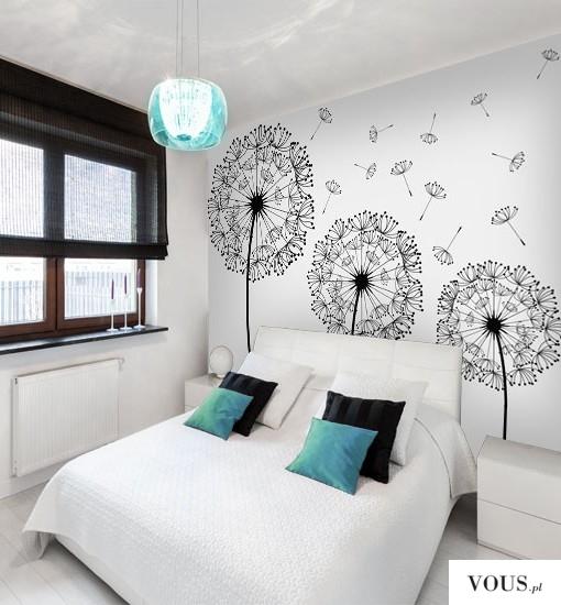 Piękna, subtelna dekoracja w formie fototapety do sypialni.