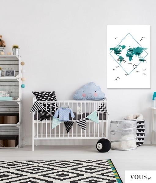 Mapa w pięknym kolorze turkusowym do upiększenia pokoiku dziecięcego.