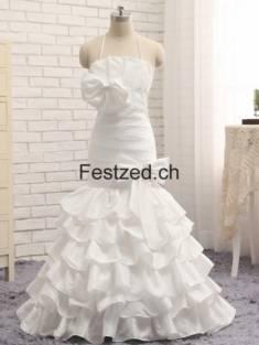 Weiß Halfter Blumen Taft Brautkleider – Festzed.CH