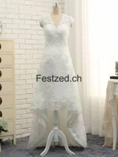Weiß Hoch-niedrig V-Ausschnitt Spitze Brautkleider – Festzed.CH