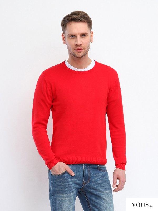 czerwony męski swetr