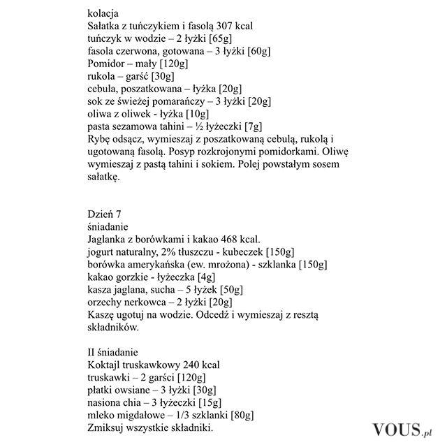 Dieta Ewa Chodakowska, przepisy, jadłospis, śniadanie, obiad i kolacja, dzień 7