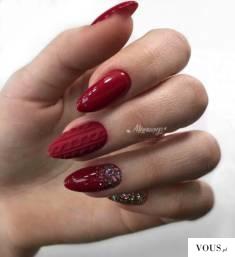 Czerwone paznokcie wzory z cyrkoniami / świąteczne | INSPIRACJE