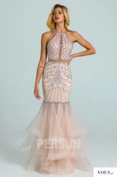 Robe de soirée 2020 sirène rose perle parsemé de bijoux à volant