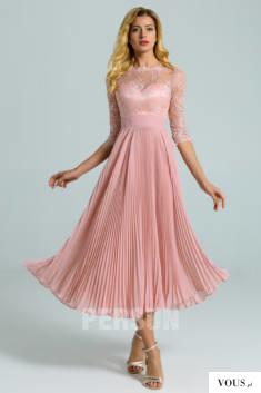 Robe rose chair mi-longue haut en dentelle avec manche courte jupe plissé