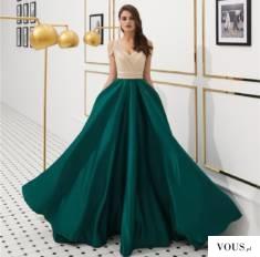 Robe de soirée vert champagne col v ornée de strass épaule dénudée