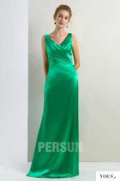 Robe de soirée longue vert émeraude col v drapé