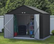 Metalowy domek narzędziowy  Prosty metalowy domek narzędziowy, w którym możemy bezpiecznie przec ...