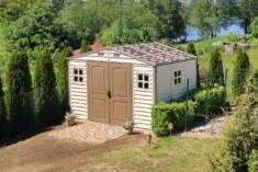 Plastikowy domek narzędziowy z dwuskrzydłowymi drzwiami Duży domek narzędziowy wykonany z wysoki ...