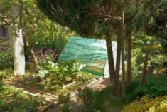 Inspekt ogrodowy postawiony w ogrodzie w otoczeniu warzyw, kwiatów i drzew. Dzięki zielonemu kol ...